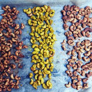 würzige Snack Nüsse, im Ofen geröstet ohne zusätzliches Fett