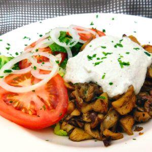 veganer Dönerteller mit Austernpilzen